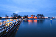 The Uunisaari island in Helsinki, Finland. This building is renovated for restaurant use. There are three saunas in Uunisaari that can be ordered for groups.
