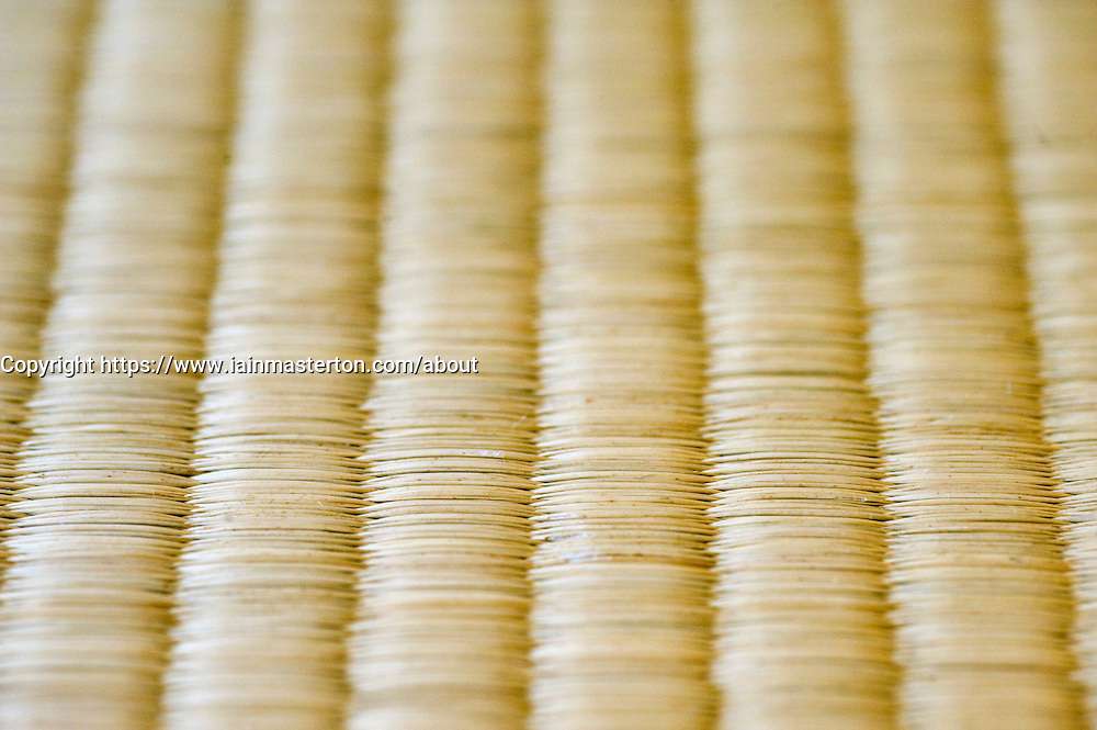 Close up of traditional tatami mat in Japanese hotel