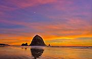 Sunset at Cannon Beach, Oregon, USA.