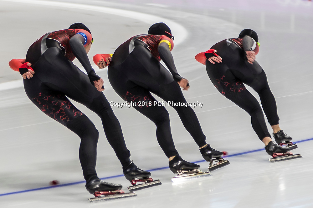 Canadian women compete in the speed skating ladies team pursuit at the Olympic Winter Games PyeongChang 2018