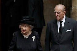 Queen Elizabeth II and the Duke of Edinburgh leave St Paul's Church in Knightsbridge, London after attending the funeral of Countess Mountbatten of Burma.