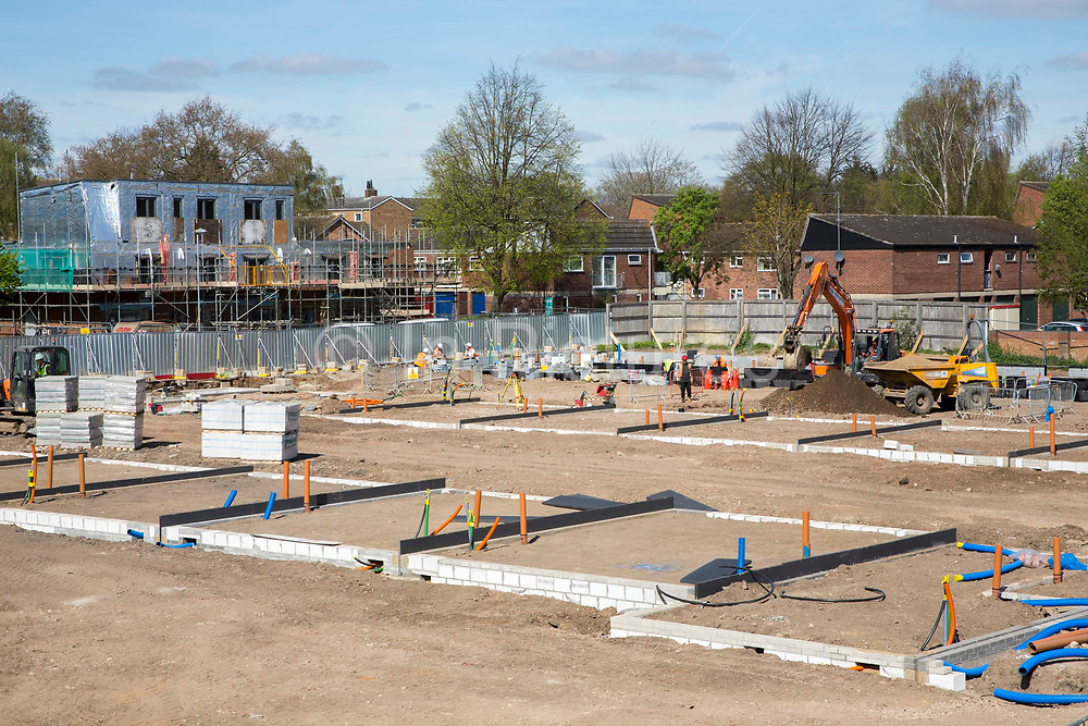 Foundations ready for new house building on a construction site in Norwich. Norfolk. United Kingdom