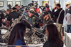 Christian Newman talks about his amazing Knucklehead at the Old Iron - Young Blood exhibition media and industry reception in the Motorcycles as Art gallery at the Buffalo Chip during the annual Sturgis Black Hills Motorcycle Rally. Sturgis, SD. USA. Sunday August 6, 2017. Photography ©2017 Michael Lichter.