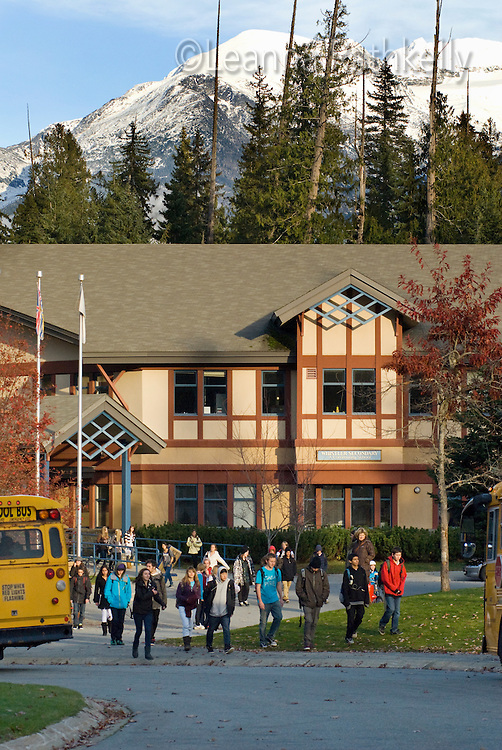 Living in Whistler means regular activities, such going to school. Here, students of Whistler Secondary School get ready to walk home or board the school bus.