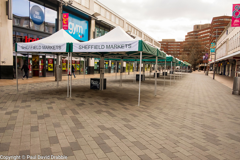 Sheffield Friday 3 April 2020 <br /> Coronavirus Covid-19 Sheffields second week of Lockdown Sheffield MArkets closed at the bottom of the Moor.<br /> 3 April 2020<br /> <br /> www.pauldaviddrabble.co.uk<br /> All Images Copyright Paul David Drabble - <br /> All rights Reserved - <br /> Moral Rights Asserted -
