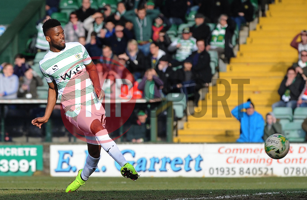Yeovil Town's Joel Grant scores his sides goal  - Photo mandatory by-line: Harry Trump/JMP - Mobile: 07966 386802 - 07/03/15 - SPORT - Football - Sky Bet League One - Yeovil Town v Oldham Athletic - Huish Park, Yeovil, England.