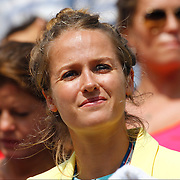 Kim Sears, girlfriend of Andy Murray, watches Andy Murray, Great Britain, in action during his Men's Semi-Final victory over Tomas Berdych, Czech Republic, during the US Open Tennis Tournament, Flushing, New York. USA. 8th September 2012. Photo Tim Clayton