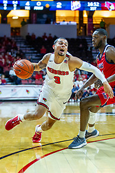 NORMAL, IL - December 18: Ricky Torres defended by Tarkus Ferguson during a college basketball game between the ISU Redbirds and the UIC Flames on December 18 2019 at Redbird Arena in Normal, IL. (Photo by Alan Look)