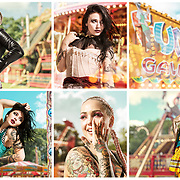 Traditional fairground setting for a fashion photoshoot using two models.