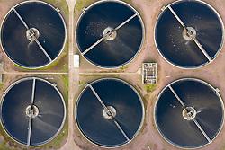 Aerial view of Scottish Water Seafield Wastewater Treatment Works, Edinburgh , Scotland ,UK