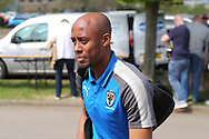 AFC Wimbledon midfielder Jimmy Abdou (8) arriving during the EFL Sky Bet League 1 match between AFC Wimbledon and Oldham Athletic at the Cherry Red Records Stadium, Kingston, England on 21 April 2018. Picture by Matthew Redman.