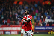 Charlton Athletic defender, Zakarya Bergdich (19) not looking very happy during the Sky Bet Championship match between Charlton Athletic and Cardiff City at The Valley, London, England on 13 February 2016. Photo by Matthew Redman.