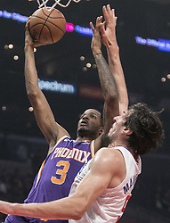 November 28, 2018 - Los Angeles, California, U.S - Trevor Ariza #3 of the Phoenix Suns drives past Boban Marjanovic #51 of the Los  Angeles Clippers during their NBA game on Wednesday November 28, 2018 at the  Staples Center in Los Angeles, California. Clippers defeat Suns, 115-99. JAVIER  ROJAS/PI (Credit Image: © Prensa Internacional via ZUMA Wire)