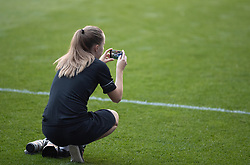 CARDIFF, WALES - Tuesday, September 7, 2021: Estonia's media team take photos during a training session at the Cardiff City Stadium ahead of the FIFA World Cup Qatar 2022 Qualifying Group E match between Wales and Estonia. (Pic by David Rawcliffe/Propaganda)