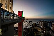 Panoramic twilight  in Praça da Se, where Lacerda Elevator seems reach out into the bay