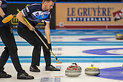 """Glasgow. SCOTLAND.   """"Sweeping"""", The Scotland Red """"Stone"""" hones in on the Finnish, stationrly Yellow """"Stone"""",  """"Round Robin"""" Game. Le Gruyère European Curling Championships. 2016 Venue, Braehead  Scotland<br /> Tuesday  22/11/2016<br /> <br /> [Mandatory Credit; Peter Spurrier/Intersport-images]"""