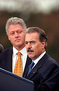 US President Bill Clinton listens to Colombian President Andres Pastrana during an arrival ceremony on the South Lawn of the White House October 28, 1998 in Washington DC.