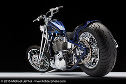 A 2009 custom blue chopper built by Bill Holland of Executive Choppers in Roseville, CA. Photographed by Michael Lichter at the Sacramento Easyriders Show on January 16, 2015. ©2015 Michael Lichter