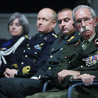 Nederland, Doorn , 26 september 2013.<br /> Veteranendag op militaire basis in Doorn.<br /> Karl Marlantes, Vietnam veteraan en schrijver ontmoet Nederlandse veteranen van de oorlog in Afghanistan. In beeld: een bejaarde veteraan met veel onderscheidingen.<br /> <br /> Veterans day at militairy base in Doorn.<br /> Karl Marlantes, Vietnam veteran and writer meets veterans of the  Afghanistan war.  Karl Marlantes (born December 24, 1944) is an American author, businessman, and decorated Marine veteran.<br /> He is the author of Matterhorn: A Novel of the Vietnam War<br /> <br /> Foto:Jean-Pierre Jans