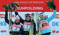 16.01.2011, Chiemgau Arena, Ruhpolding, GER, IBU Biathlon Worldcup, Ruhpolding, Pursuit Women, im Bild Podium, 2. Platz, Andrea HENKEL (GER), Siegerin, Tora BERGER (NOR) und 3. Platz, Kaisa MAEKAERAEINEN (FIN) // Podium, 2nd place, Andrea HENKEL (GER), winner, Tora BERGER (NOR) and 3rd place, Kaisa MAEKAERAEINEN (FIN) during IBU Biathlon World Cup in Ruhpolding, Germany, EXPA Pictures © 2011, PhotoCredit: EXPA/ S. Kiesewetter