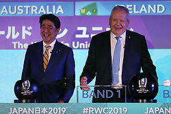 KYOTO, JAPAN - MAY 10: (L-R) Shinzo Abe, Prime Minister of Japan and Bill Beaumont, Chairman of World Rugby address the audience during the Rugby World Cup 2019 Pool Draw at the Kyoto State Guest House on May 10, in Kyoto, Japan. Photo by Dave Rogers - World Rugby/PARSPIX/ABACAPRESS.COM