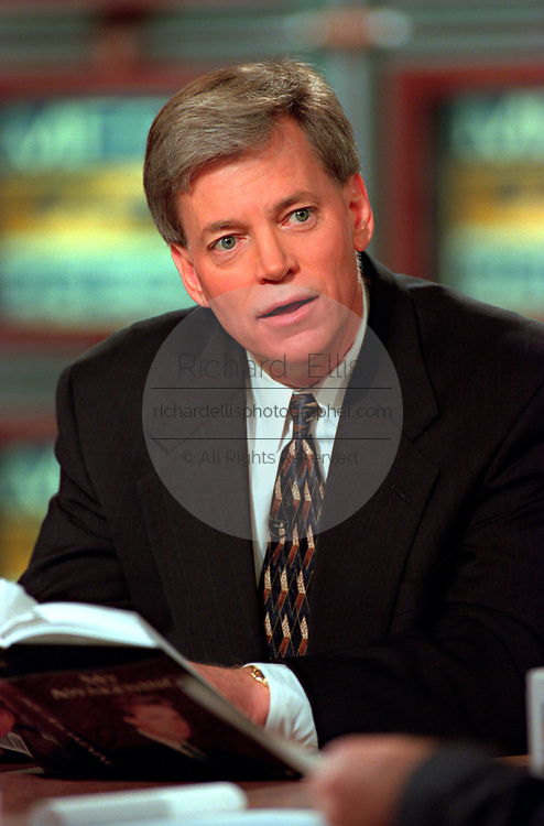 Former Klansman and congressional candidate David Duke discusses his bid for the seat opened by Rep. Bob Livingston during the Sunday political talk show, Meet the Press, on NBC-TV March 28, 1999 in Washington, DC.