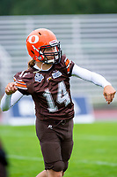 KELOWNA, BC - SEPTEMBER 8:  Kai Sampson #14 of the Okanagan Sun warms up on the field against the Langley Rams  at the Apple Bowl on September 8, 2019 in Kelowna, Canada. (Photo by Marissa Baecker/Shoot the Breeze)