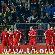 Turkey's Burak Yilmaz (2ndR) celebrate his goal with team mate during their UEFA Euro 2016 qualification Group A soccer match Turkey betwen Kazakhstan at AliSamiYen Arena in Istanbul November 16, 2014. Photo by Kurtulus YILMAZ/TURKPIX