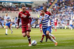 Reading Midfielder Jobi McAnuff (JAM) is challenged by Derby Defender Richard Keogh (IRL) - Photo mandatory by-line: Rogan Thompson/JMP - 07966 386802 - 15/09/2014 - SPORT - FOOTBALL - Madejski Stadium - Reading - Reading v Derby County - Sky Bet Football League Championship.
