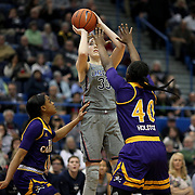 HARTFORD, CONNECTICUT- JANUARY 4:  Katie Lou Samuelson #33 of the Connecticut Huskies shoots while  defended by Gabrielle Holston #40 of the East Carolina Lady Pirates and Raven Johnson #11 of the East Carolina Lady Pirates during the UConn Huskies Vs East Carolina Pirates, NCAA Women's Basketball game on January 4th, 2017 at the XL Center, Hartford, Connecticut. (Photo by Tim Clayton/Corbis via Getty Images)
