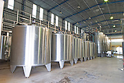 The vat hall with big stainless steel tanks for fermentation. Vinedos y Bodega Filgueira Winery, Cuchilla Verde, Canelones, Montevideo, Uruguay, South America