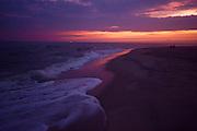 Sunset, Ocean wave foam, Cape May, NJ