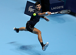 November 14, 2018 - London, England, United Kingdom - Serbia's Novak Djokovic (SRB) pictured during his winning second  round -robin match of The Nitto ATP Finals 2018 at  The O2 Arena, London (Credit Image: © Panoramic via ZUMA Press)