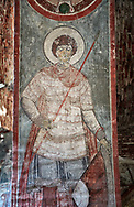 """Pictures & imagse of the interior frescoes of the Timotesubani medieval Orthodox monastery Church of the Holy Dormition (Assumption), dedcated to the Virgin Mary, 1184-1213, Samtskhe-Javakheti region, Georgia (country).<br /> <br /> Built during the reigh of Queen Tamar during the """"Golden Age of Georgia"""", Timotesubani Church of the Holy Dormition is one of the most important examples of medieval Georgian architecture and art. <br /> <br /> The interior frescoes of date from the 11th - 13th century so the Timotesubani church of the Dormition is a treasure trove of medieval Georgian art created during the reign of Queen Tamar. The fresco murals have been rescued and preserved by the Global Fund of Cultural Heritage. .<br /> <br /> Visit our MEDIEVAL PHOTO COLLECTIONS for more   photos  to download or buy as prints https://funkystock.photoshelter.com/gallery-collection/Medieval-Middle-Ages-Historic-Places-Arcaeological-Sites-Pictures-Images-of/C0000B5ZA54_WD0s<br /> <br /> Visit our REPUBLIC of GEORGIA HISTORIC PLACES PHOTO COLLECTIONS for more photos to browse, download or buy as wall art prints https://funkystock.photoshelter.com/gallery-collection/Pictures-Images-of-Georgia-Country-Historic-Landmark-Places-Museum-Antiquities/C0000c1oD9eVkh9c"""