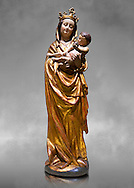 Gothic wooden statue of Madonna and Child from Bohemia, circa 1530-1540, tempera and gold leaf on wood,.  National Museum of Catalan Art, Barcelona, Spain, inv no: MNAC  65506. Against a grey art background. .<br /> <br /> If you prefer you can also buy from our ALAMY PHOTO LIBRARY  Collection visit : https://www.alamy.com/portfolio/paul-williams-funkystock/gothic-art-antiquities.html  Type -     MANAC    - into the LOWER SEARCH WITHIN GALLERY box. Refine search by adding background colour, place, museum etc<br /> <br /> Visit our MEDIEVAL GOTHIC ART PHOTO COLLECTIONS for more   photos  to download or buy as prints https://funkystock.photoshelter.com/gallery-collection/Medieval-Gothic-Art-Antiquities-Historic-Sites-Pictures-Images-of/C0000gZ8POl_DCqE