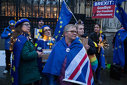 London, UK. 30 January, 2020. Pro-EU activists from SODEM (Stand of Defiance European Movement) stand draped in flags and fairy lights at a party outside Parliament on the eve of Brexit Day on the theme of 'Party like there's no tomorrow'.