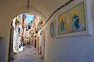 Narrow medieval steets of Bari old town, Puglia Italy
