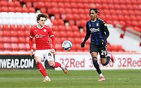 Barnsley's Callum Styles vies for possession with Middlesbrough's Djed Spence<br /> <br /> Photographer Rich Linley/CameraSport<br /> <br /> The EFL Sky Bet Championship - Barnsley v Middlesbrough - Saturday 10th April 2021 - Oakwell - Barnsley<br /> <br /> World Copyright © 2021 CameraSport. All rights reserved. 43 Linden Ave. Countesthorpe. Leicester. England. LE8 5PG - Tel: +44 (0) 116 277 4147 - admin@camerasport.com - www.camerasport.com