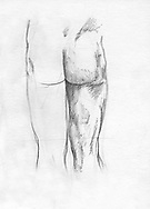 Sketchbook drawing of male figure from the rear