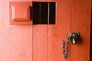 Padlock on the jail door, Fort Vancouver National Historic Site, Vancouver, Washington