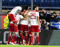 Olympiakos players celebrate scoring the first goal of the game<br /> <br /> Photographer Alex Dodd/CameraSport<br /> <br /> UEFA Europa League - UEFA Europa League Qualifying Second Leg 2 - Burnley v Olympiakos - Thursday August 30th 2018 - Turf Moor - Burnley<br />  <br /> World Copyright © 2018 CameraSport. All rights reserved. 43 Linden Ave. Countesthorpe. Leicester. England. LE8 5PG - Tel: +44 (0) 116 277 4147 - admin@camerasport.com - www.camerasport.com