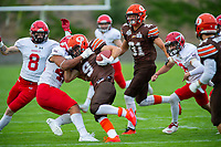 KELOWNA, BC - AUGUST 17:   Tyson MASTRODIMOS #9 of Okanagan Sun is tackled by the Westshore Rebels at the Apple Bowl on August 17, 2019 in Kelowna, Canada. (Photo by Marissa Baecker/Shoot the Breeze)