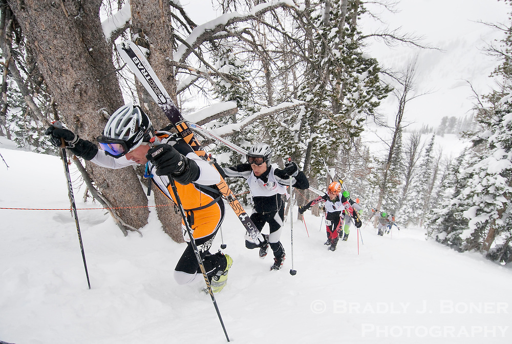 Greg Ruckman, left, leads a pack of racers Saturday up the Headwall at Jackson Hole Mountain Resort during the North American Ski Mountaineering Championships. Participants of the racing class then had to traverse the mountain for another climb into Corbet's Couloir near the summit of Rendezvous Mountain.