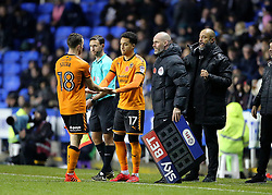 """Wolves Diogo Jota is substituted for Helder Costa during the Sky Bet Championship match at the Madejski Stadium, Reading. PRESS ASSOCIATION Photo. Picture date: Saturday November 18, 2017. See PA story SOCCER Reading. Photo credit should read: Mark Kerton/PA Wire. RESTRICTIONS: EDITORIAL USE ONLY No use with unauthorised audio, video, data, fixture lists, club/league logos or """"live"""" services. Online in-match use limited to 75 images, no video emulation. No use in betting, games or single club/league/player publications."""