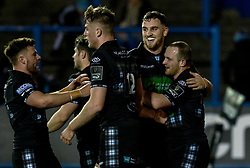 Nick Grigg of Glasgow Warriors celebrates scoring his sides first try<br /> <br /> Photographer Simon King/Replay Images<br /> <br /> Guinness PRO14 Round 15 - Cardiff Blues v Glasgow Warriors - Saturday 16th February 2019 - Cardiff Arms Park - Cardiff<br /> <br /> World Copyright © Replay Images . All rights reserved. info@replayimages.co.uk - http://replayimages.co.uk