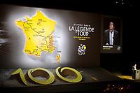 CYCLING - PRESENTATION TOUR DE FRANCE 2013 - PARIS (FRA) - 24/10/2011 - PHOTO JULIEN BIEHLER / DPPI - Christian PRUDHOMME (Fra) ASO TDF Director - Large view Illustration - The 100th edition - Centenaire