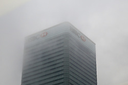 October 5, 2018 - London, London, United Kingdom - Dense Fog Covers London Financial District. ..Dense fog covers London Financial District including Canary Wharf, HSBC and Barclays bank skyscrapers in Docklands. (Credit Image: © Dinendra Haria/i-Images via ZUMA Press)