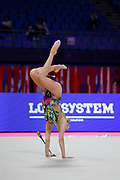 Moustafaeva Kseniya of France competes during the Rhythmic Gymnastics Individual Clubs qulification of the World Cup at Vitrifrigo Arena  on May 29, 2021,in Pesaro Italy. She is a French individual rhythmic gymnast of Belarusian origin born in Minsk in 1994.