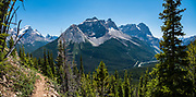 Cathedral Mountain rises above Trans-Canada Highway 1, as seen from Paget Peak Trail in Yoho National Park, British Columbia, Canada. This image was stitched from multiple overlapping photos.