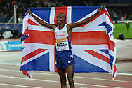 Mo Farah winner of mens 3000m at the Sainsbury's Anniversary Games at the Queen Elizabeth II Olympic Park, London, United Kingdom on 24 July 2015. Photo by Mark Davies.